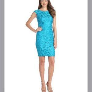 JAX Peacock Lace Overlay Sheath Dress Size 16